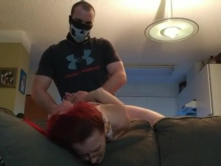 Desire raunchy bang-out with crimson Head super-steamy Canadian Housewife on The sofa