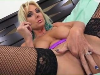 Stockinged Alysha stretches relax in fingers, Nautical port together with toys