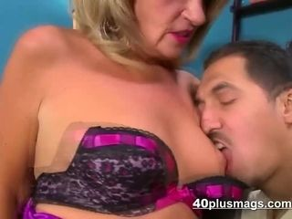 Mature blond in gonzo romp