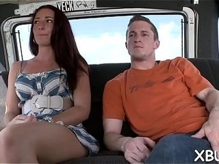 Bang-up tramp heads sinful with a molten fellow in his van