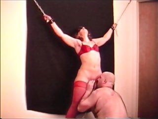 My wifey roped to the wall climax