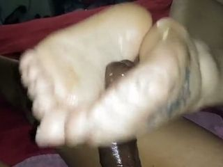 Oily feet wank