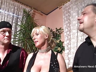 Big-boobed matures three-way with ambisexual fellows