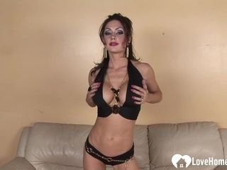 Insatiable buxomy wifey undresses and drains intensively