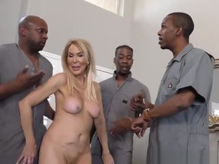 Ass fucking whore milf Erica Lauren bi-racial gang-bang