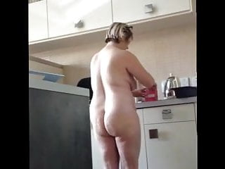 Mature plumper wifey with meaty orbs meaty bum in the Kitchen