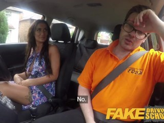 Faux Driving college Posh hotwifey wifey with excellent mounds has noisy climaxes