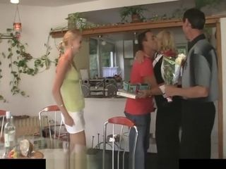 Mature duo drill nymph at her b-day