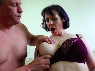 Mature dude fondles giant jugs Of enticing naughty GILF