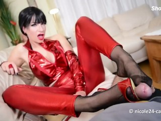 Nicole nylon feet wank with jism on crimson stilettos