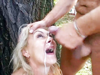 Order about matured Receives Facial Cumshot alfresco