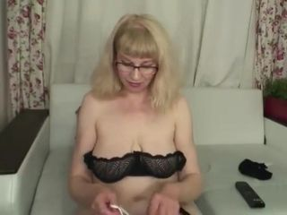 Fur covered grandmother in pantyhose on web cam