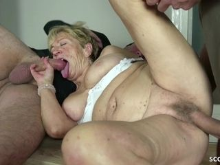 Older grannie lure 2 youthful studs TO pound ON HER bday