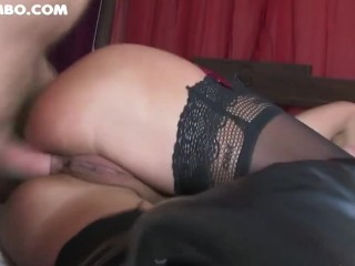 Grubby chesty cougar in pantyhose boned rock hard