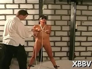 Bare wifey stands trussed up and suffers intense bap thraldom