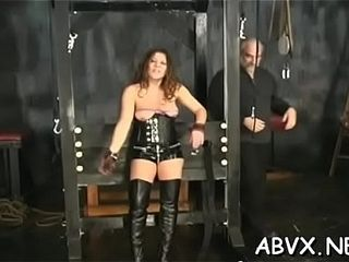 Bare wifey freaky home porno in coarse restrain bondage first-timer sequences