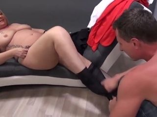 Round German Mature Rosella penetrates camera guy