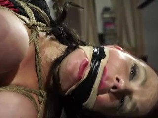 Huge-chested cougar grasped and strapped up !!!!