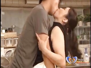 Making up with asian Mature in Kitchen
