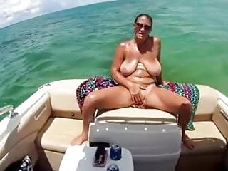 Thick saggy boobies mature cougar on boat