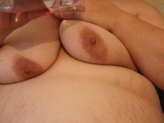 SSBBW Emma frolicking with bra-stuffers and lubricant close up
