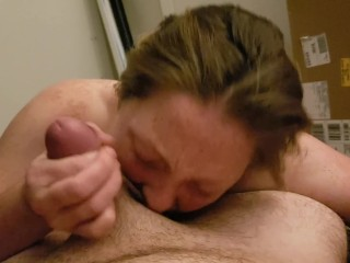 Youthfull red-hot wifey providing blow-job before couch