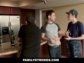 FamilyStrokes - Curvy Military fit together Plowed wide of Stepson