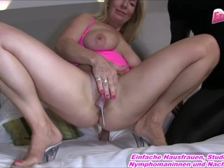 DREIER MIT RIESENSCHWANZ - German light-haired cougar during big black cock internal cumshot three way