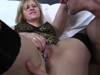 Mature Maid nails man On couch After Catching Him With porno