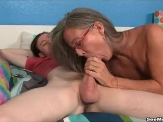 Cougar Empties Step-sons ballsack deep throating His immense man rod