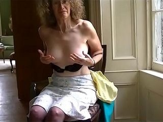 Linda demonstrates off her milk cans and slobbers jizm