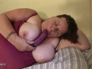 Enormous mature ma frolicking with herself