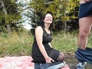Oral in the park mature duo, cum shot on the face