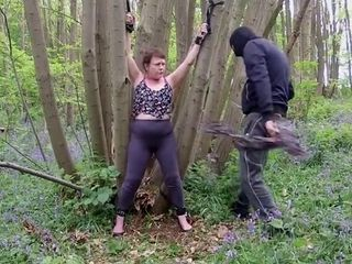Mature lil' melon mega-slut corded unwrapped abjected in the forest