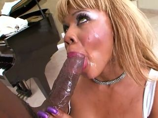 Posh Black mother bj's meaty black cock