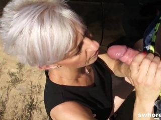 Grandmother get had lovemaking action outside