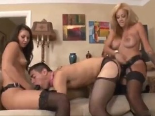Wifey & mom in law ravaged scanty dude so bad with belt cock