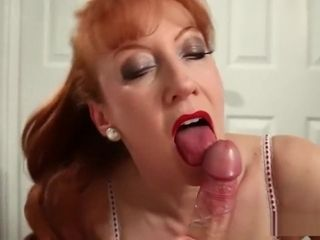Cougar crimson blown and pulverized her way to ejaculation after ejaculation