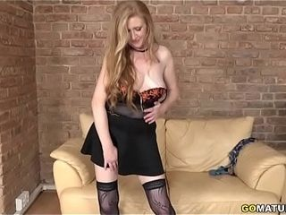 New mature Angelica frolicking with herself