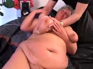 Sumptuous plumper tanny German grandma with big tender udders