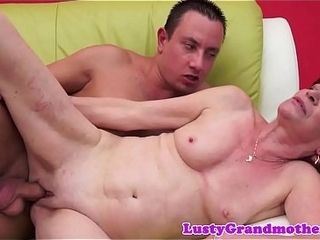 Red-haired european grandmother penetrated until popshot
