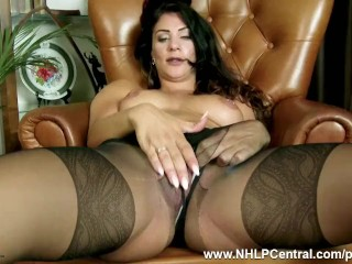 Obscurity Roxy Mendez rips Canadian junkgenuous nylon pantyhose close to Canadian junk US breeks plays toys pussy