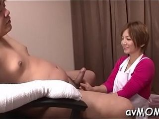 Sloppy japanese mommy takes on trio knobs and gets absorbed