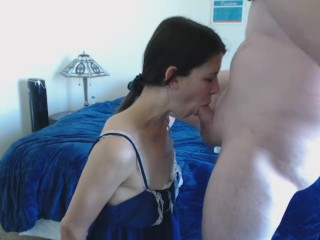 Cougar cuffed and fellating schlong CIM and collective spunk smooch