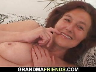 2 youthful fellows nail naked older chick
