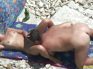 Super-hot cougar jacks at the beach while husband witnesses