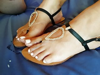 Jism on my cool wife's soles and sandals