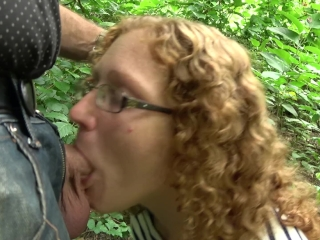 Sandy-haired cougar Ivy deep throats spunk-pump and gulps jizz on a Public Nature Trail