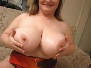 Jizz on her immense titties