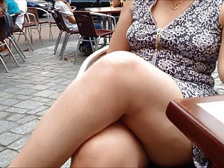 My wifey heads for a gulp on the terrace